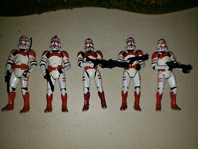 Star Wars RotS Coruscant Guard Figure Red Clone Shock Trooper Lot