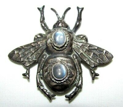 Rare Antique Vintage Walter Lampl Sterling Moonstone Insect Bee Bug Pin Signed