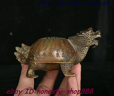 China Bronze Fengshui Animal Dragon Tortoise Loong Turtle Ancient Writing Statue