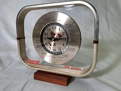 Vintage CASTROL Jim Quinton KRUGER GMT World Clock AIRPLANE Second Hand Working