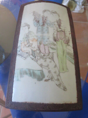 Chinese Famille Rose Porcelain and Wood  Qing Dynasty 19th C. Box