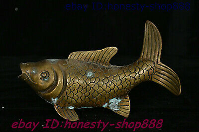 Collect Old Chinese Copper Bronze Fengshui Animal Fish Wealth Auspicious Staute