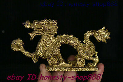 Collect Chinese Bronze Fengshui 12 Zodiac Year Animal Dragon Loong Beast Statue