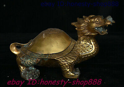 Collect Chinese Ciopper Bronze Animal Dragon Tortoise Loong Turtle Beast Statue
