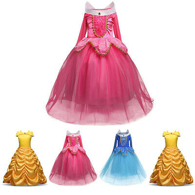 Princess Belle Cinderella Costume Party Gown Dress Girl Kid Child Dresses