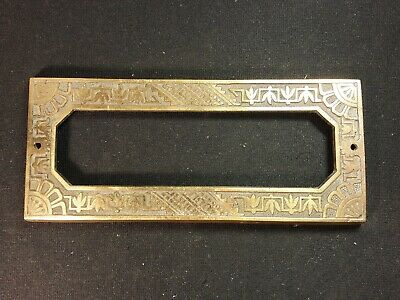Antique French Brass Mail Slot Cover Surround Eastlake Style Original 7 3/4""