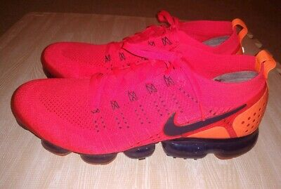 NIKE Men's AIR VAPORMAX FLYKNIT 2 Sz 14 - Red with Black Nike Swoosh - MINT COND