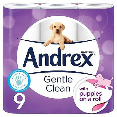 Andrex Gentle Clean Toilet Tissue Puppies on a Roll - 9 Rolls