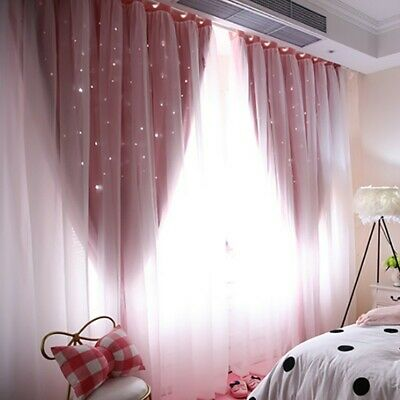 1pc Layer Star Blockout Blackout Curtains Eyelet Pure Fabric Room Darkening