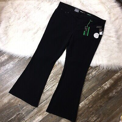 NEW STYLE&CO Womens Flare Jeans 24W Black Mid Rise Stretch Knit Denim