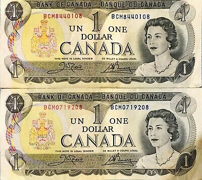 Banknotes Canada 2 each of $1 (1973) and $2 (1986) all circ but still crisp.