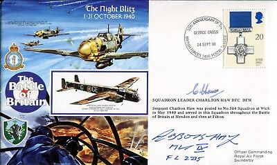 WW2 RAF Battle of Britain 540 Squadron ace Charlton Haw DFC signed cover