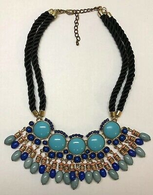 Ornate Bib Style Chunky Funky Necklace Black Twist Turquoise Color Modern Style