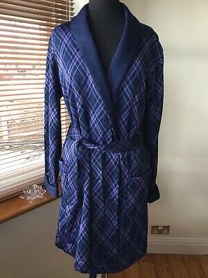 St Michael M&S Vintage Men's Dressing Gown Size Small S Blue/purple Robe