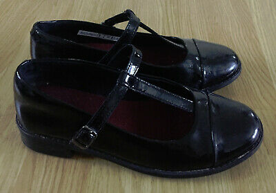 CLARKS Drew Shine Girl's Black Patent Leather School Shoes size 3 F