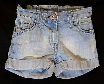 Girls Next Light Blue Stonewashed Distressed Denim Cut Off Shorts Age 5 Years