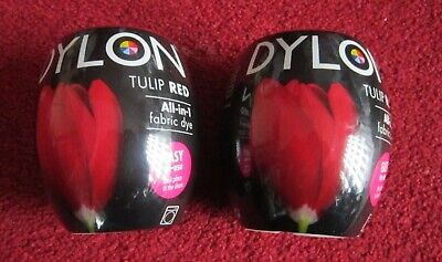 Brand New 2x Dylon Tulip Red Fabric And Clothes Dye Machine Dye 350g Pods