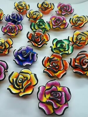 Polymer Clay Flower Beads 10 x 18mm Mixed 10 Pcs Art Hobby DIY Jewellery Making
