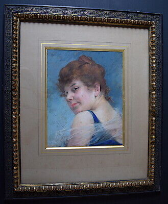Pastel Drawing Portrait of Woman 1900 Signed to Identify Xx