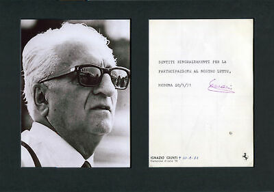 Enzo Ferrari TOP F1 autograph, typed note signed & mounted
