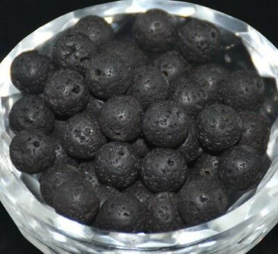20pcs Natural Stone Black Volcanic Lava Gemstone Round Spacer Loose Beads 8MM
