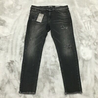 New Zara Man 1975 Denim Skinny Fit Distressed Earring Accented Jeans US 34 x 27