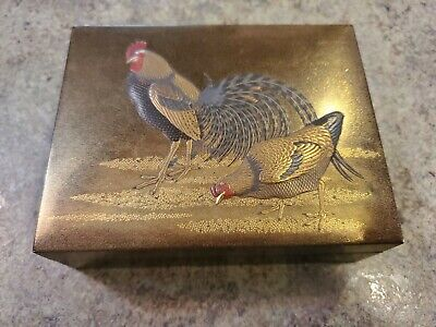 VERY RARE Japanese 19th Century Antique Lacquer Box 6 Pcs Rooster Motif Makie