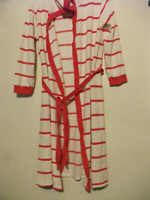Dressing Gown Girls towelling hooded Striped RED & WHTE 150 TUTTA  PTP 17''