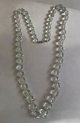 """Vintage Leaded Facet Cut Crystal Glass Bead Graduated Necklace Sterling 28"""""""