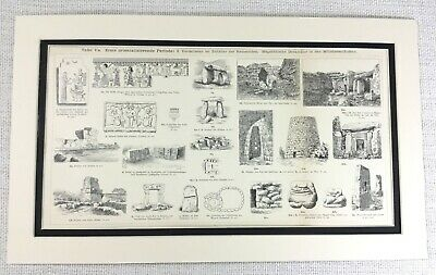 1897 Antique Print Ancient Egyptian Viking Artifacts Archaeology Architecture