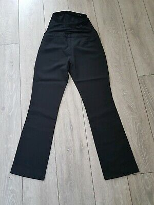 New Look Maternity Black Over Bump Pull On Smart Trousers Work Wear UK 8 L30