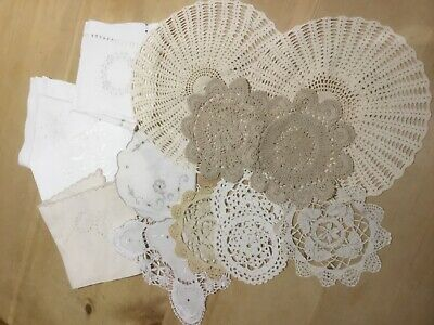 Job lot of vintage embroidered napkins, table centres, crochet doilies and more