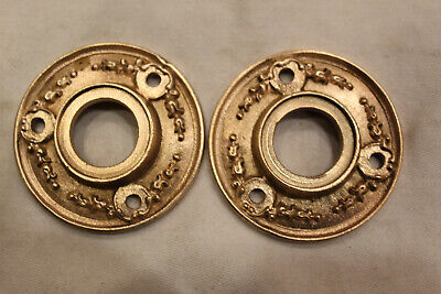 "Lot of 2 Antique Victorian Ornate 2"" Round Cast Brass Door Wreath Rosettes"