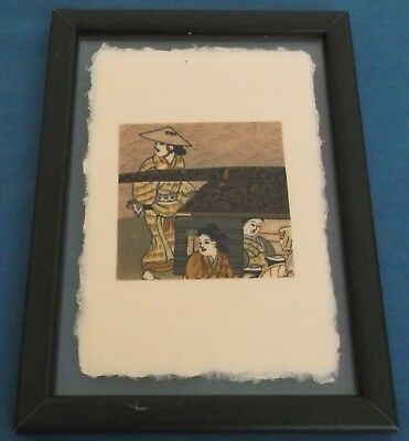 Antique Kimono On Hand Made Rice Paper Postcard Framed