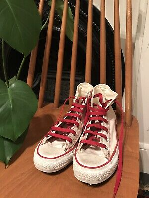 Pale Pink And Red Converse Chuck Taylors Size UK6 / EUR39