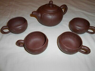 Yixing Chinese Tea Pot and Four Cups Signed