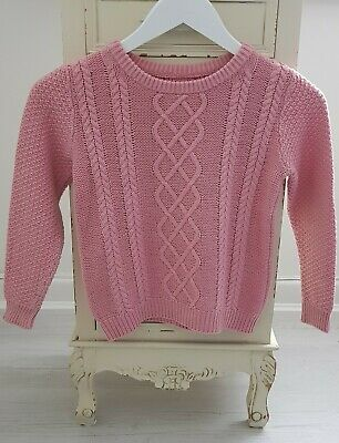 Girls Nude Pale Baby Pink 100% Cotton Cable knit Jumper Top Sweater 5-6 Years
