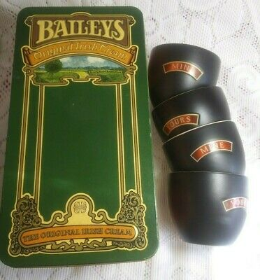 Set of (4) Baileys Irish Cream Yours and Mine Mugs Cups Bowls with TIN INCLUDED!