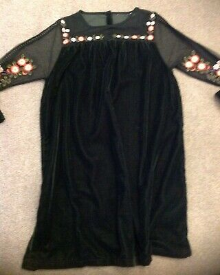 Top Shop Outfit Kids - Girls Green Velvet Party Dress - Size 10 Years -Worn Once