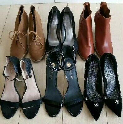 WOMEN SHOES 4 PAIRS JOB LOT COURT SHOES CASUAL WEAR MEDIUM HEEL IN SILVER F122W