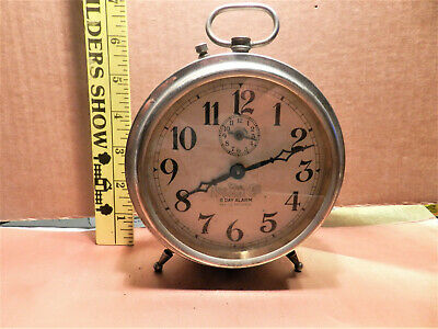 "Antique ""The National Call"" Ingraham 8 Day Alarm Clock  Peg Leg [pre 1930]"