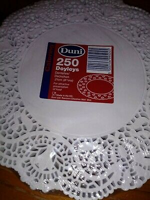 "Doyleys 250 Duni 8"" 21cm catering Doilies, disposable serving paper, more avail"