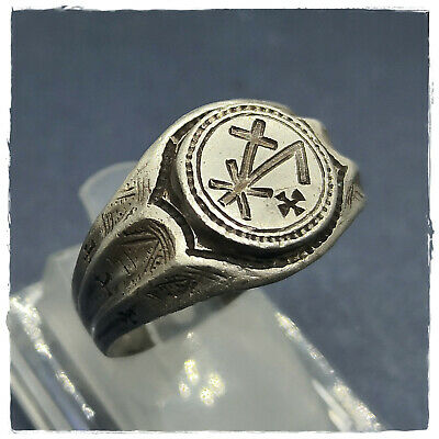 ** MONOGRAM** ancient SILVER  BYZANTINE or MEDIEVAL RING ! 9,23g