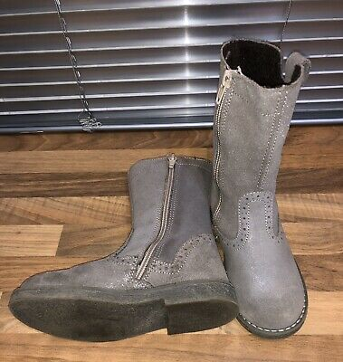 Lovely Sparkle Grey Girls Suede Boots Excellent Condition Size 10. Hardly Worn.