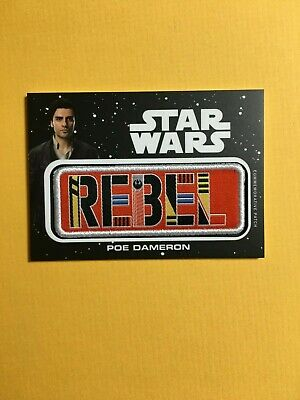 Topps Star Wars Journey to Rise of Skywalker Patch Rebel White Poe- JP-PD
