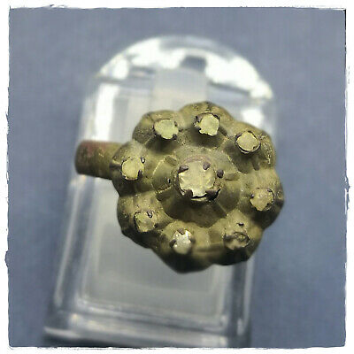 ** 8 OLD CUT DIAMONDS  ** ancient bronze MEDIEVAL or BYZANTINE RING ! 6,23g