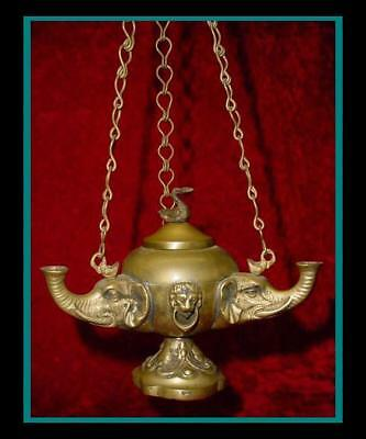 Antique ROMAN BRONZE HANGING OIL LAMP with Elephant Head FONTS & Swan Finial Lid