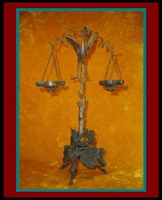 "Antique 17"" ROMAN POMPEII BRONZE OIL LAMPS with CRANE / IBIS STAND w/ HOOF LEGS"