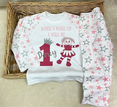 Baby girl birthday pyjamas when I wake up I will be one personalised age 1,2,