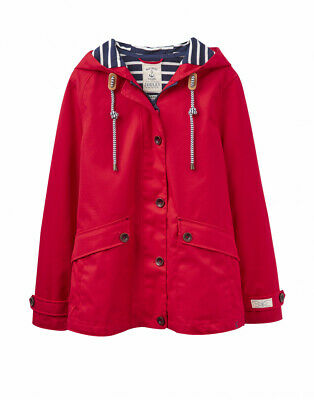 Joules Womens Coast Waterproof Coat in RED Size 12 New